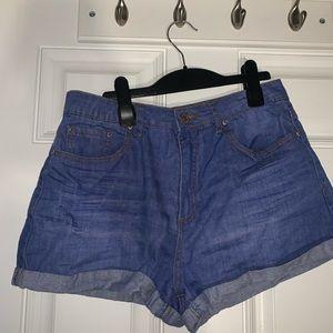 """Blue """"denim"""" shorts"""